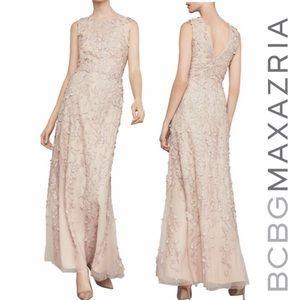 NWT BCBGMAXAZRIA Nude Lace Appliqué Gown Sz 6